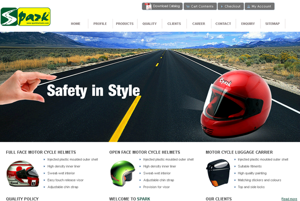 Spark Helmets and Accessories Ecommerce website design